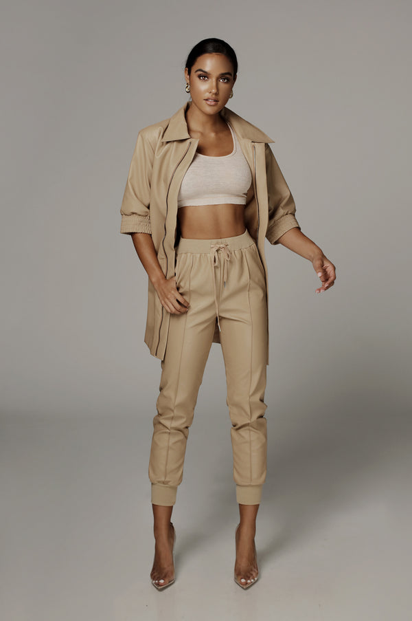 Tan Ghost Faux Leather Joggers