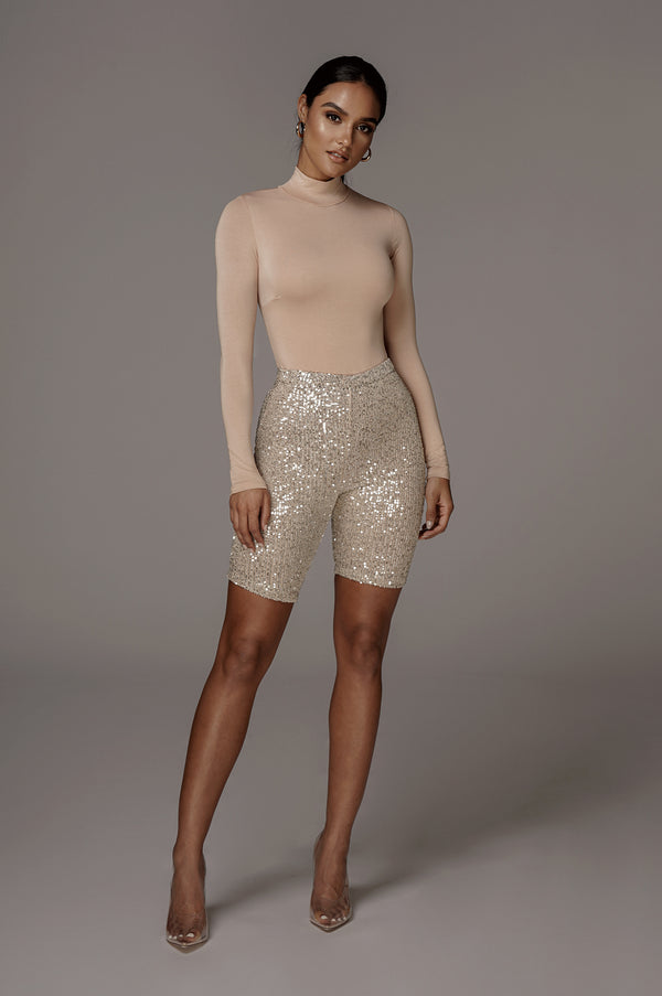 CREAM ELEKTRA SEQUIN BIKER SHORTS