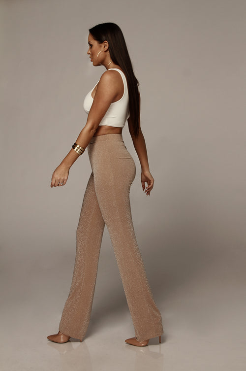 Beige Semi Sparkle High Waisted Pants
