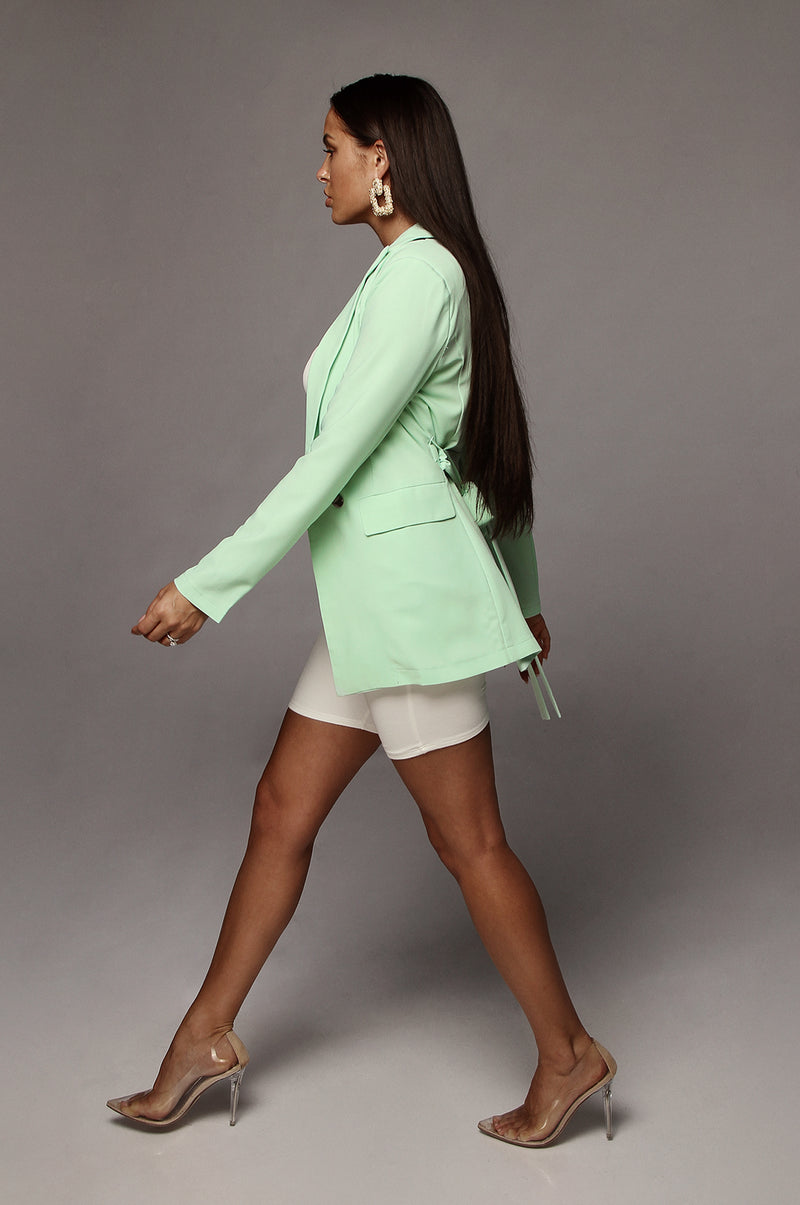 Mint You & I Satin Blazer