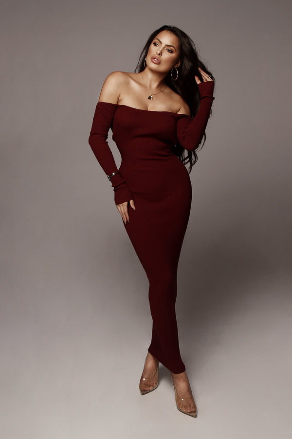Wine Open Back Kylie Midi Dress