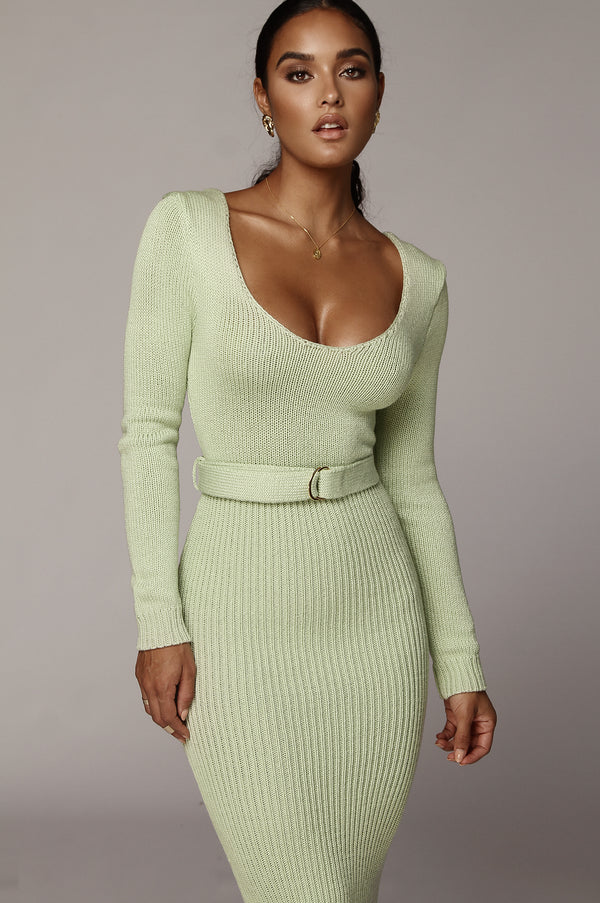 Melon Green Claire Sweater Dress
