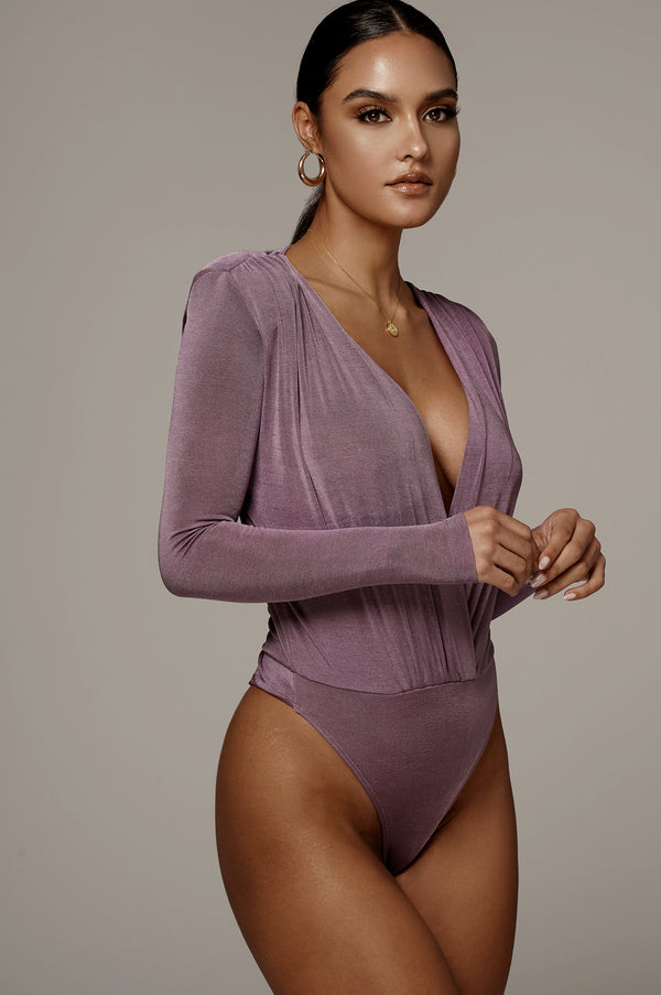 Purple Power Plunging Bodysuit