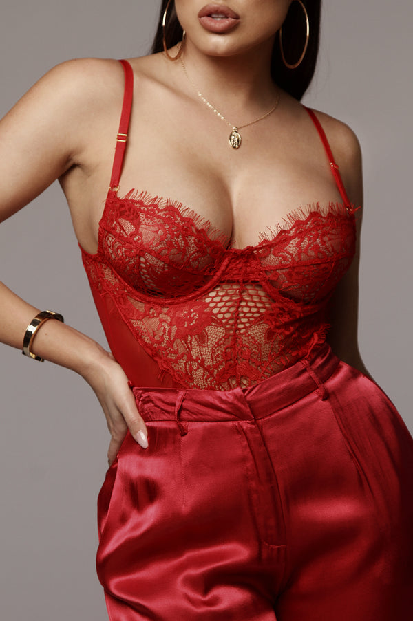 Red Lala Lace Lingerie Bodysuit