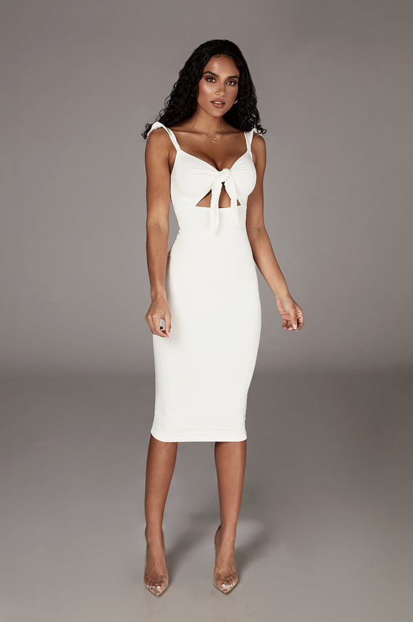 Ivory Unica Front Tie Dress