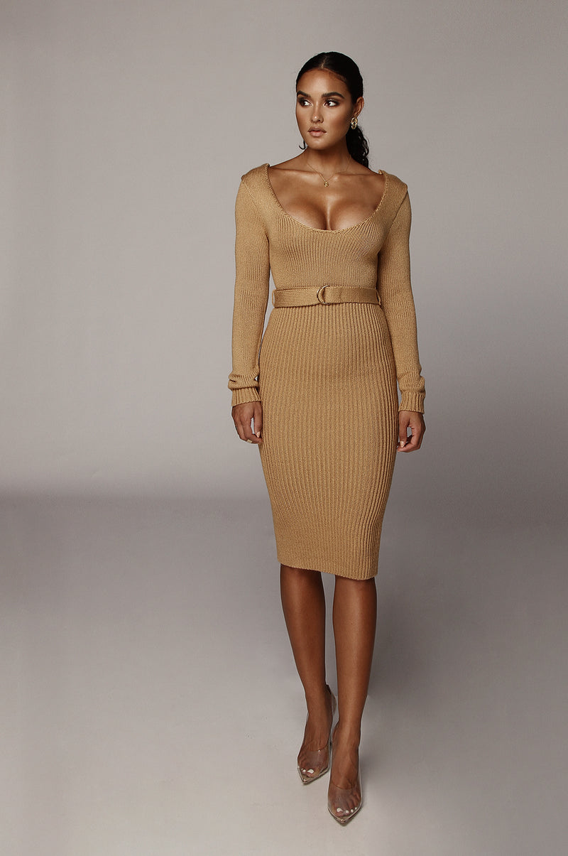 Taupe Claire Sweater Dress