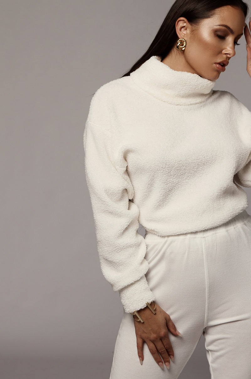 White Kameron Turtleneck Sweater