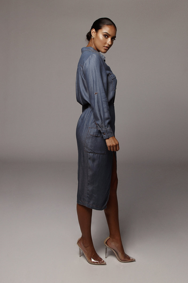 Dark Denim Ibriz Chambray Skirt