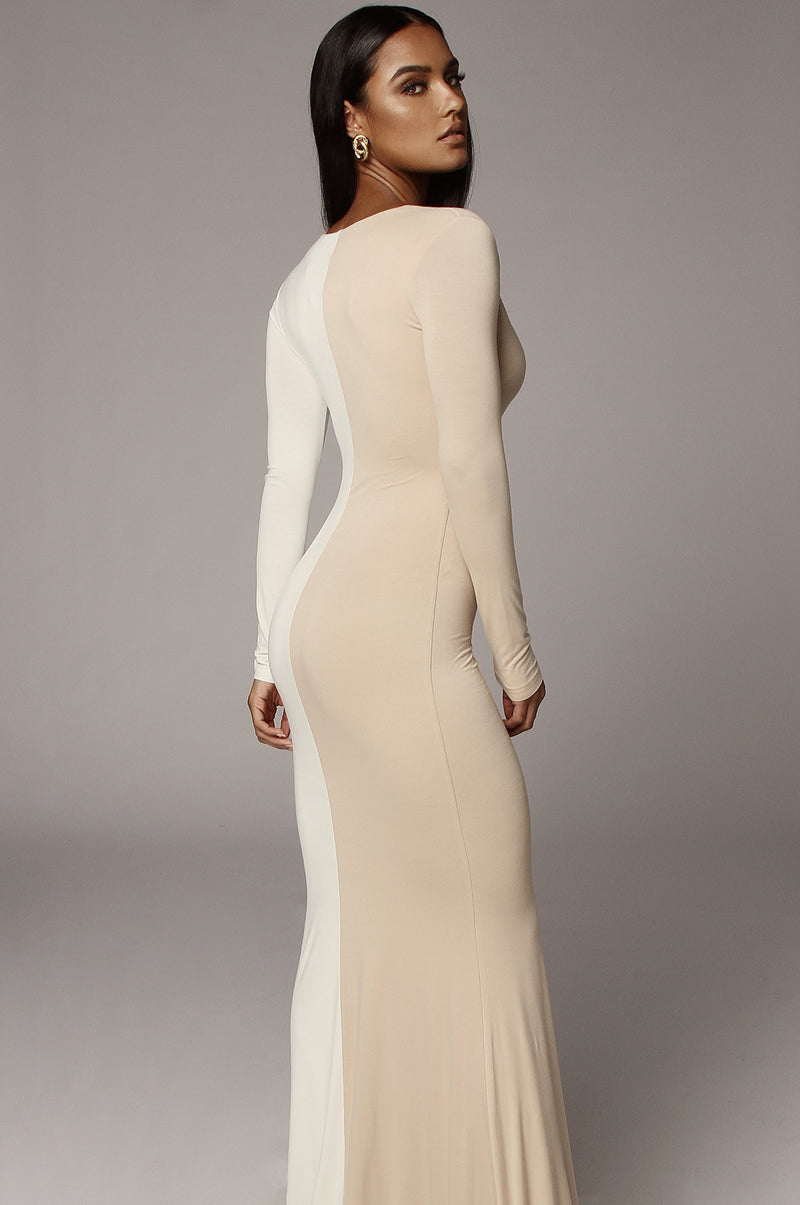 White Two Tone Aveline Maxi Dress