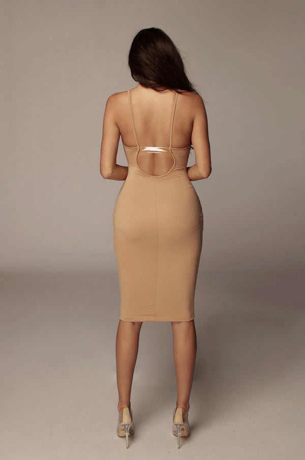 Tan Joselin Low Back Mini Dress