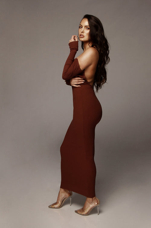 Chocolate Open Back Kylie Midi Dress