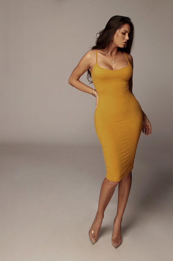 Mustard Joselin Low Back Mini Dress