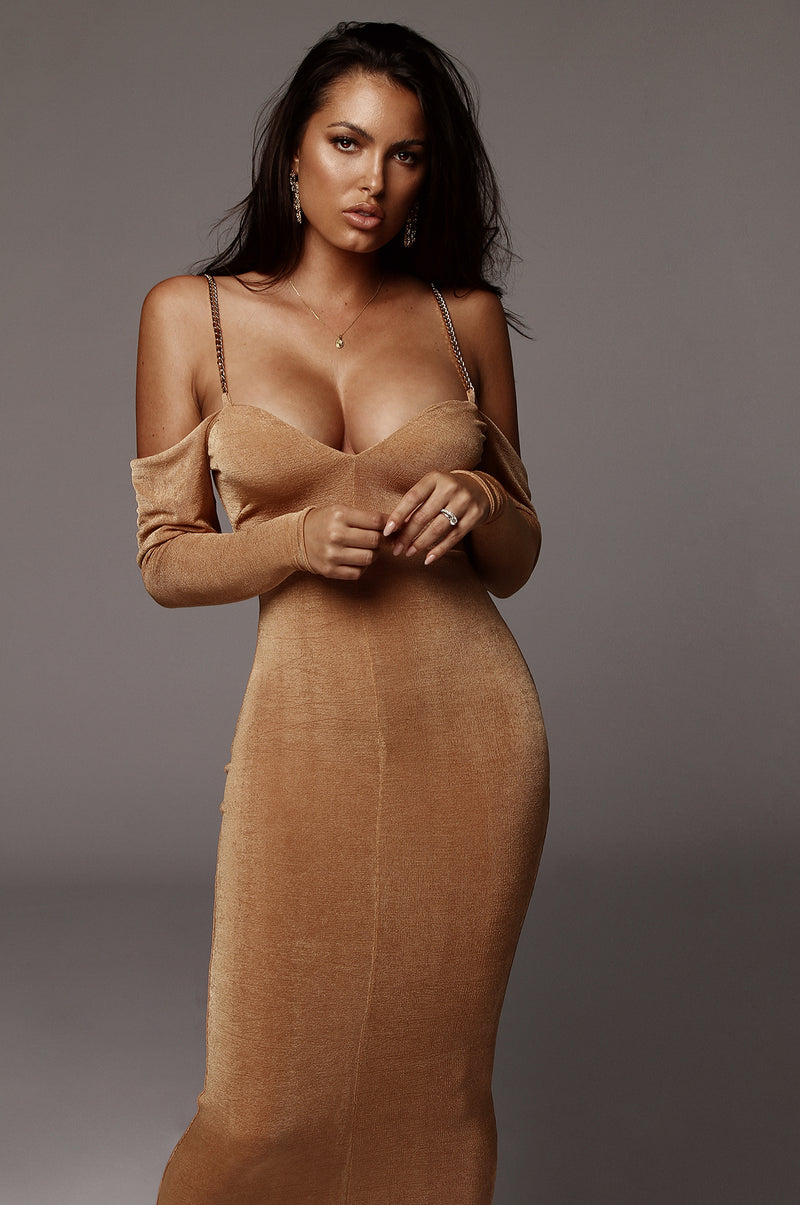 Tan Averie Off The Shoulder Dress