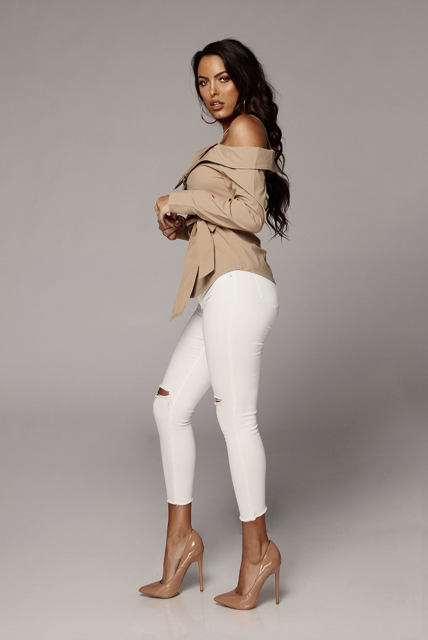 Taupe Heidi Off the Shoulder Collared Top