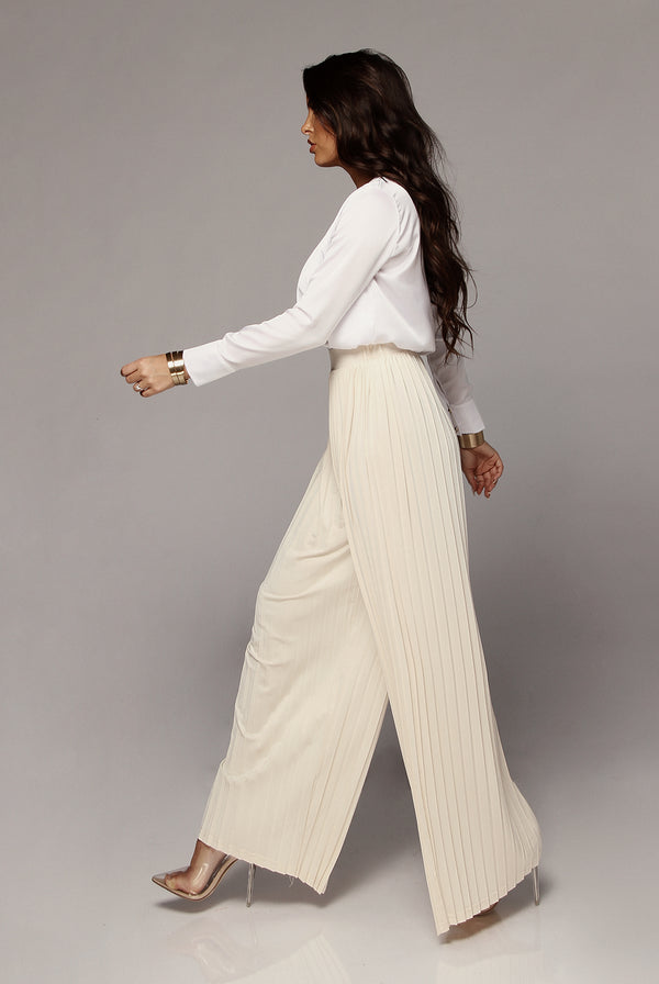 Cream Half Dollar Pleated Wide Leg Pant