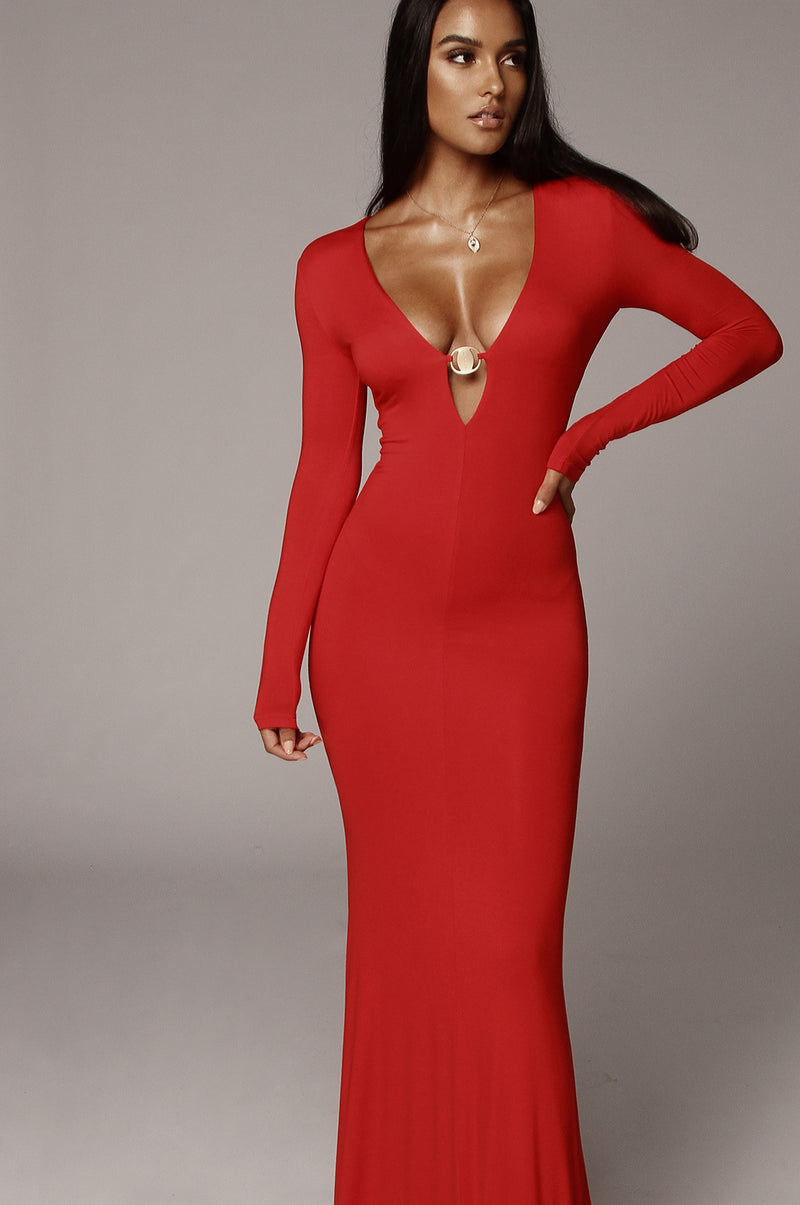Red Aveline Maxi Dress