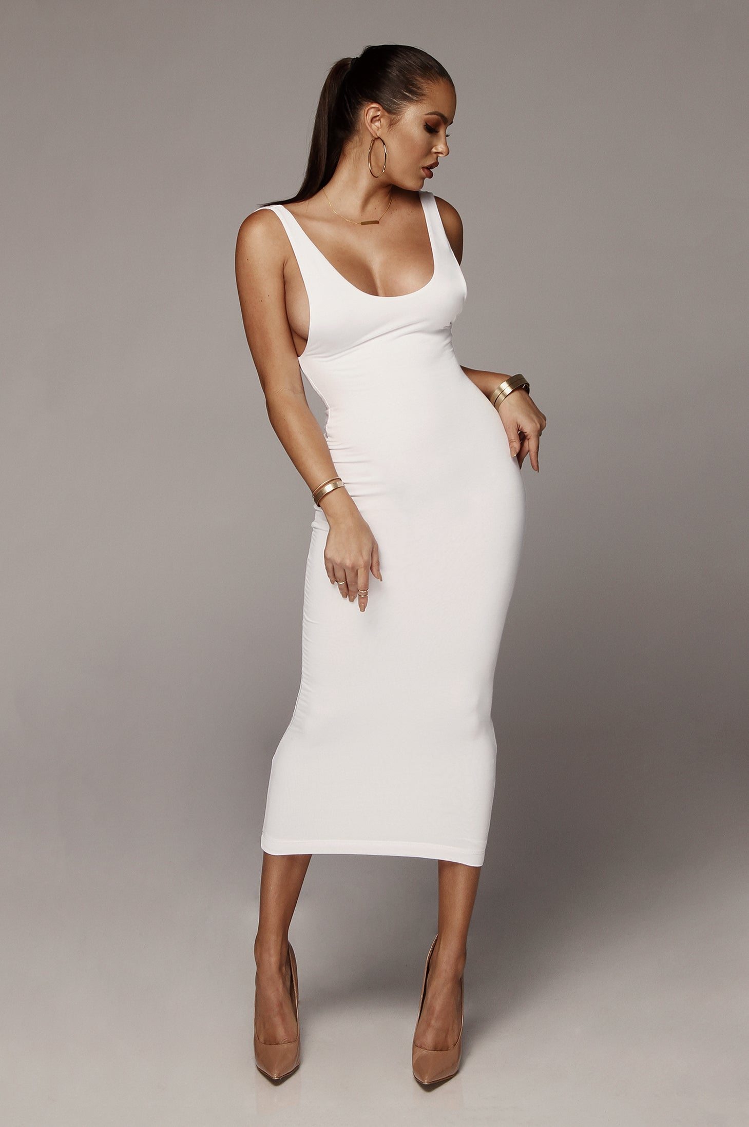 White Perfection JLUXBASIX Low Side Dress