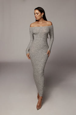 Grey Synthia Off The Shoulder Dress