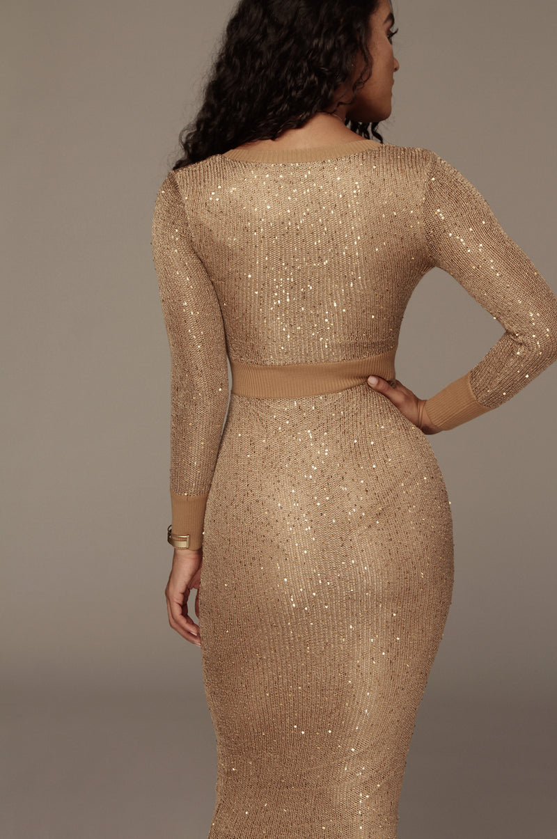 Caramel Nicole Sequin Sweater Dress