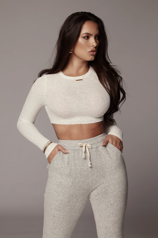 Ivory Just Enough Ribbed Crop Top