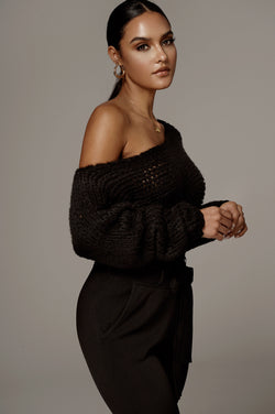 Black Yoko Off the Shoulder Sweater Top