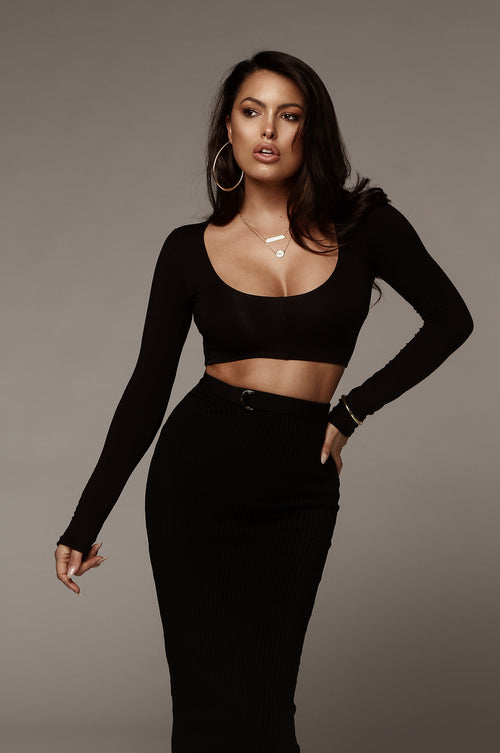 Black Long Sleeve JLUXBASIX Crop