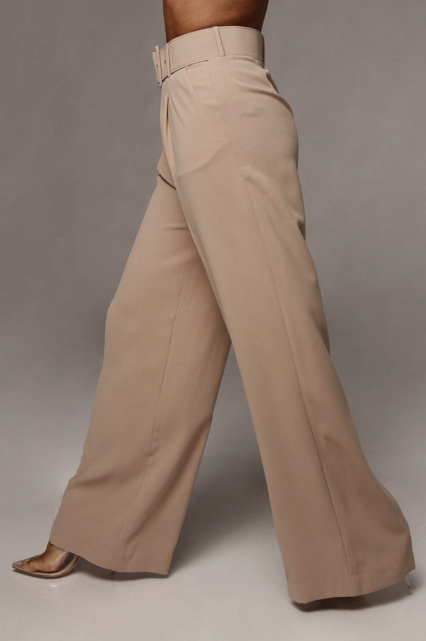 Beige Scotie Wide Leg Pants