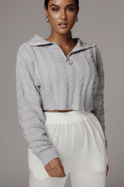 Grey Aleksa Cable Knit Pullover