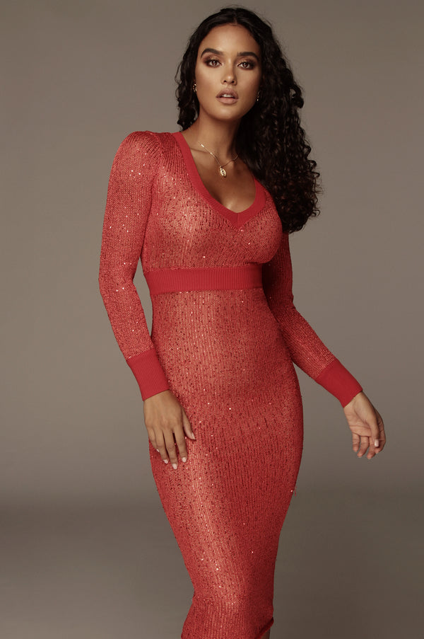 Red Nicole Sequin Sweater Dress