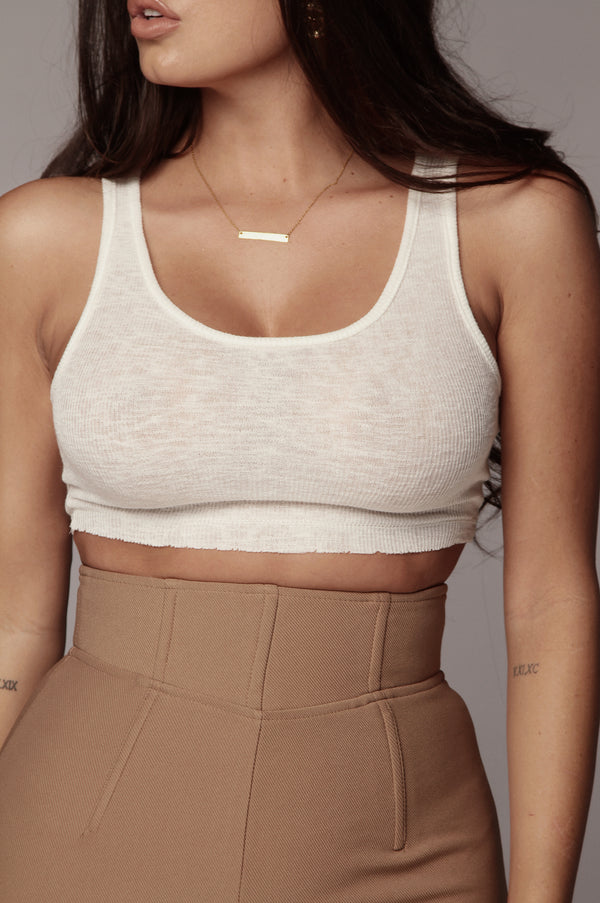 Ivory Raw Cropped Tank