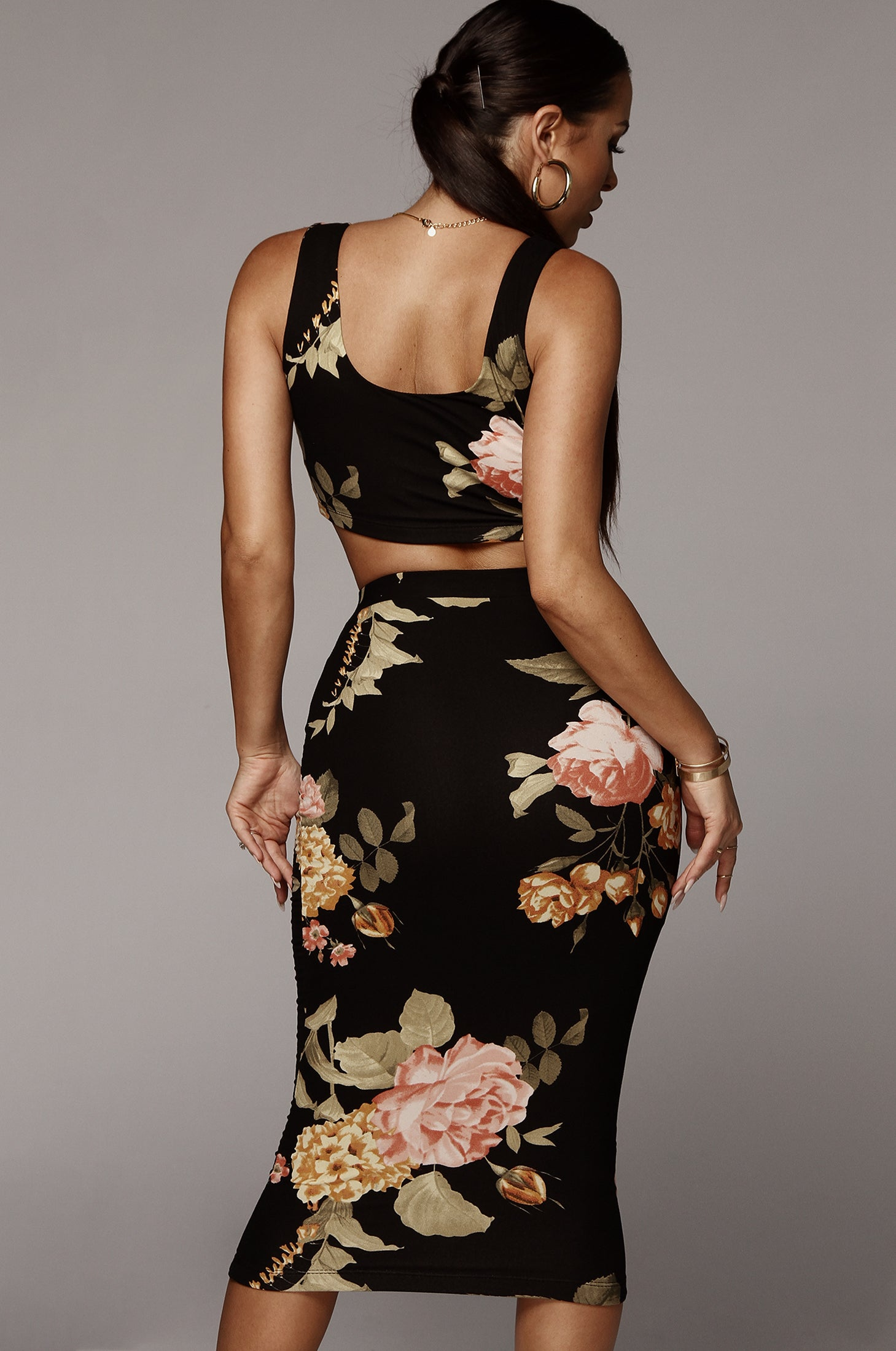 Black + Gold Farrah Floral Print Set