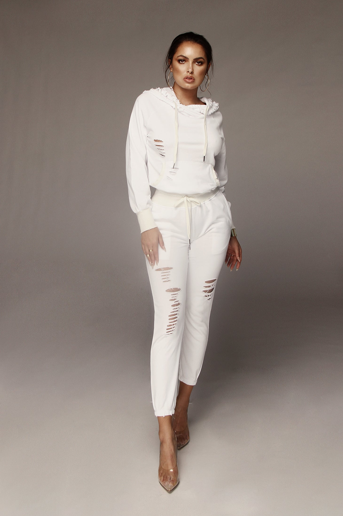 White Reese Distressed Sweat Set