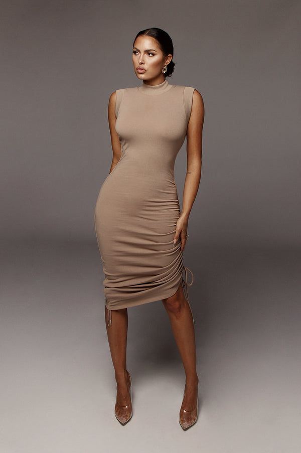 Taupe Sporty Spice Scrunch Dress