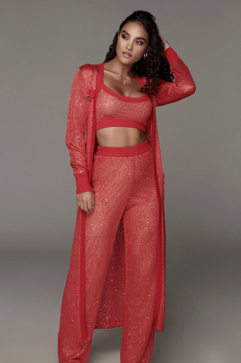 Red Kierstan Sequin Sweater Crop Top