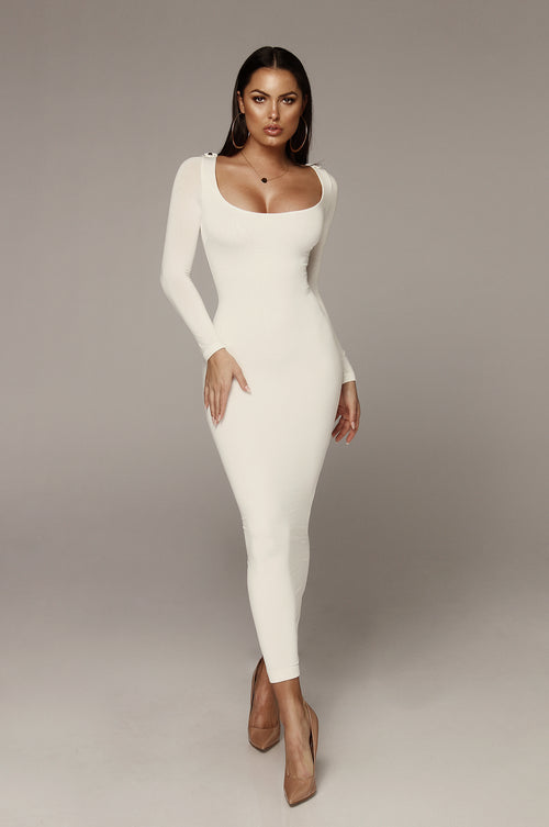 Ivory Cassandra James JLUXBASIX Scoop Neck Dress