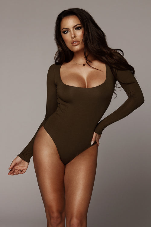 Olive Bethie Scoop Long Sleeve Bodysuit