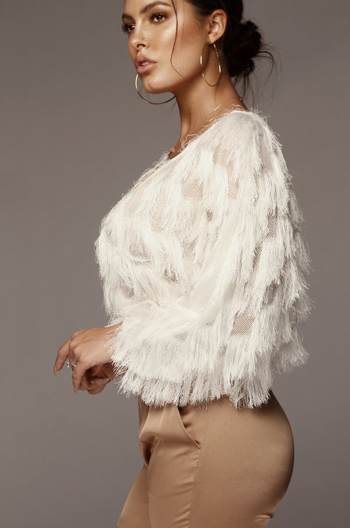White Birds of a Feather Fringe Sweater