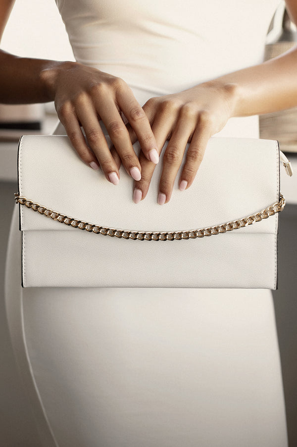 White Chained Envelope Clutch