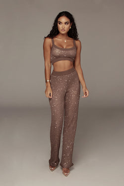 Brown Urvi Sequin Sweater Pant