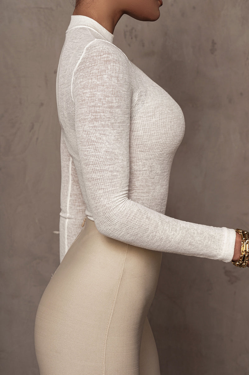 WHITE KIMBER HIGH NECK BODYSUIT