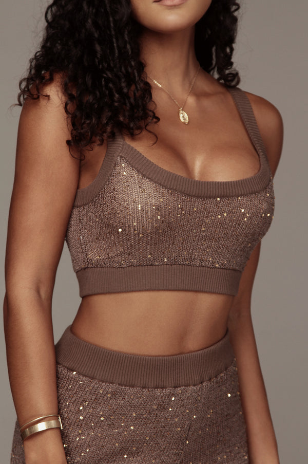 Brown Kierstan Sequin Sweater Crop Top