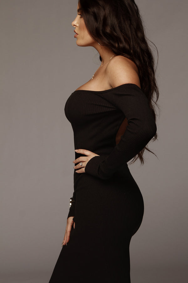 Black Open Back Kylie Midi Dress