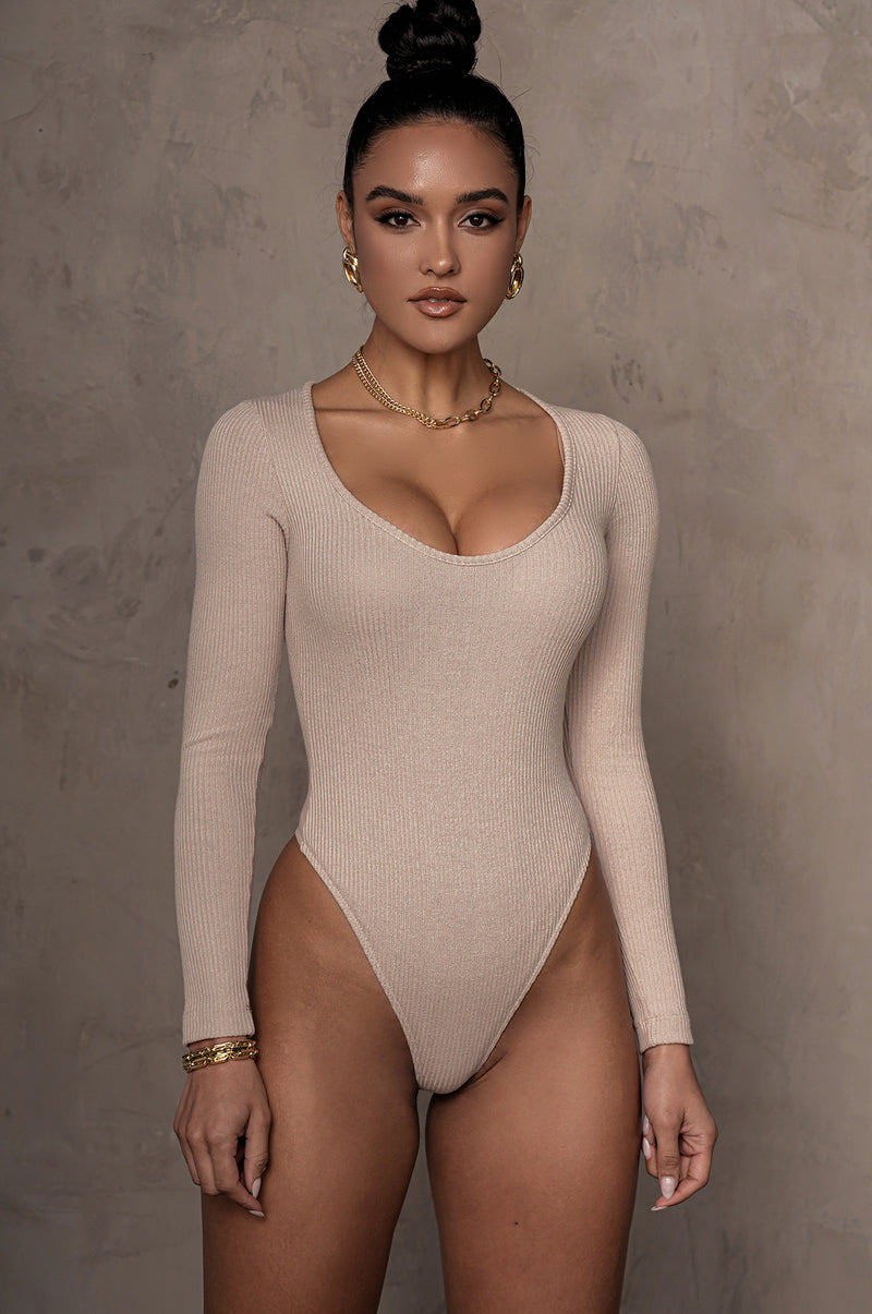 TAUPE ELLERY KNIT RIBBED BODYSUIT
