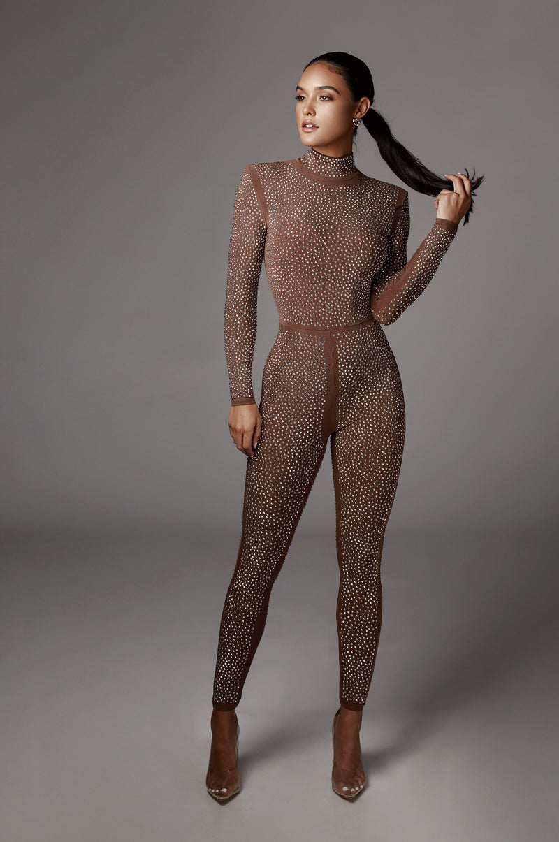 Dark Tan Antoinette Studded Jumpsuit