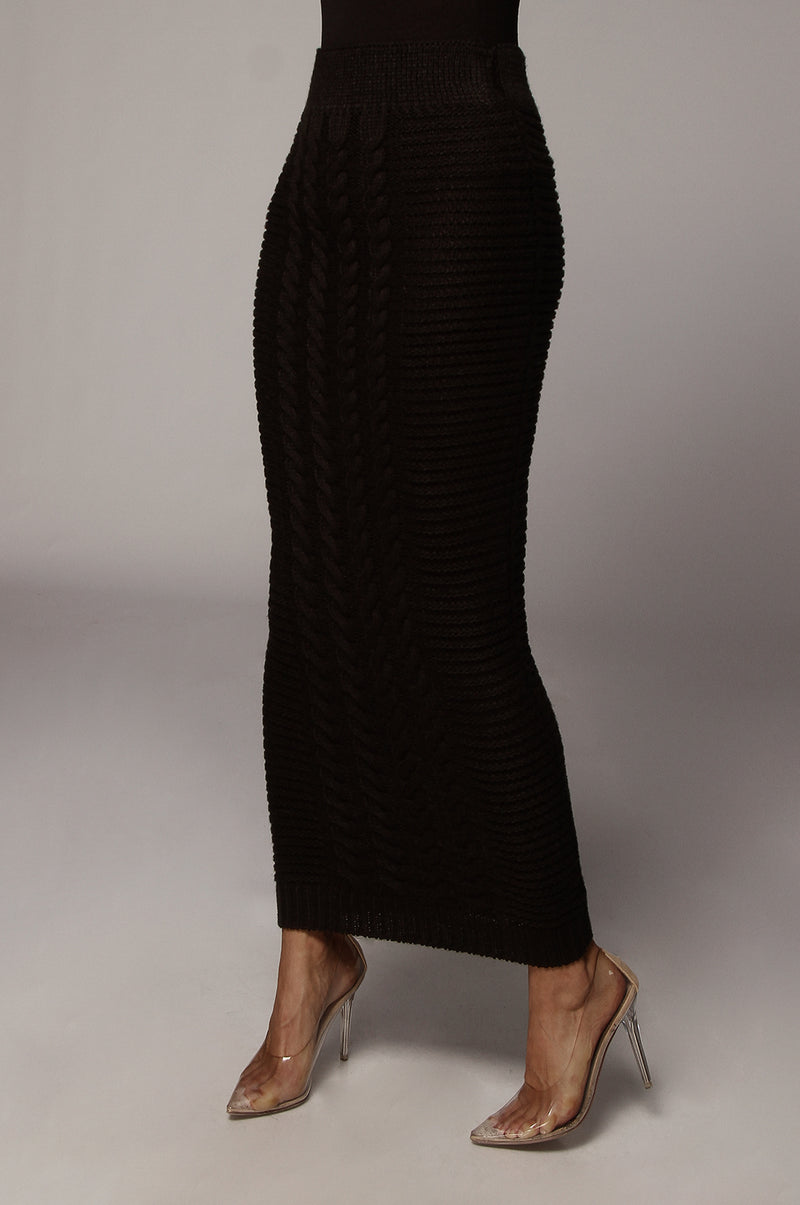 Black Nolan Cable Knit Skirt