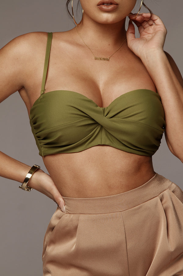 Moss Green Giuliana Twisted Bralette