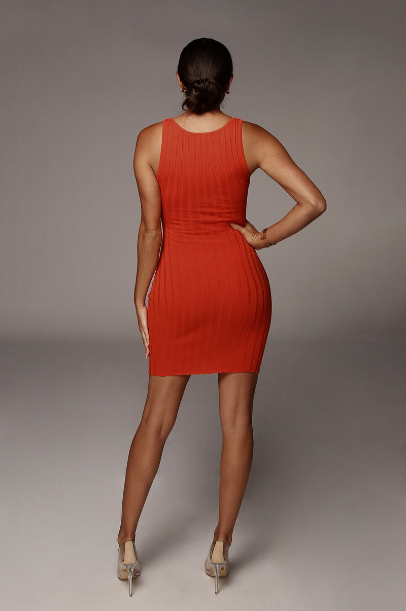 Orange Celina Ribbed Dress