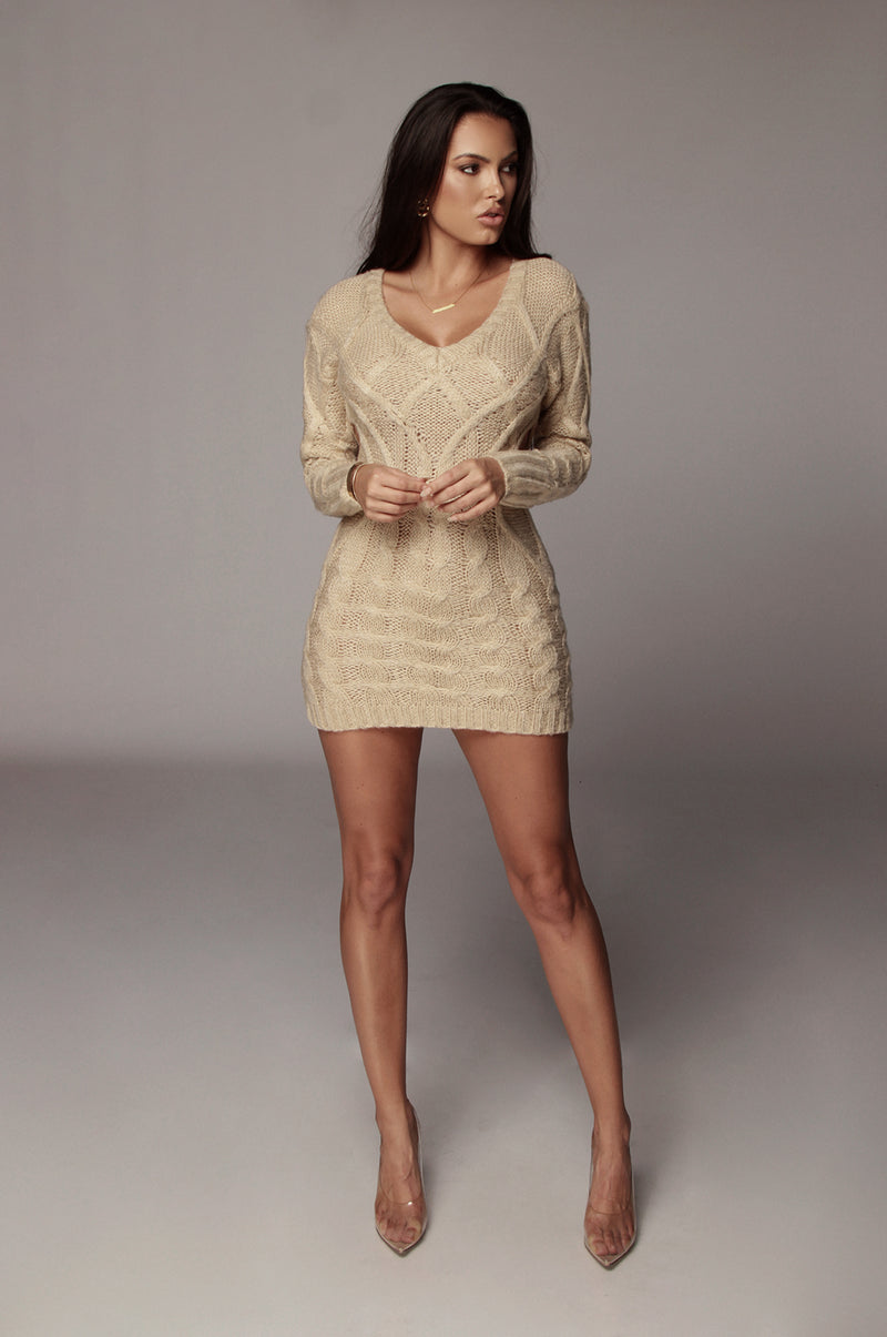 Beige Bea Cable Sweater Dress