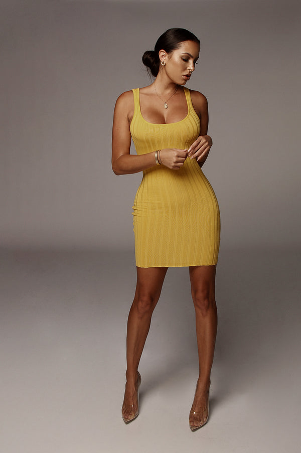 Yellow Celina Ribbed Dress