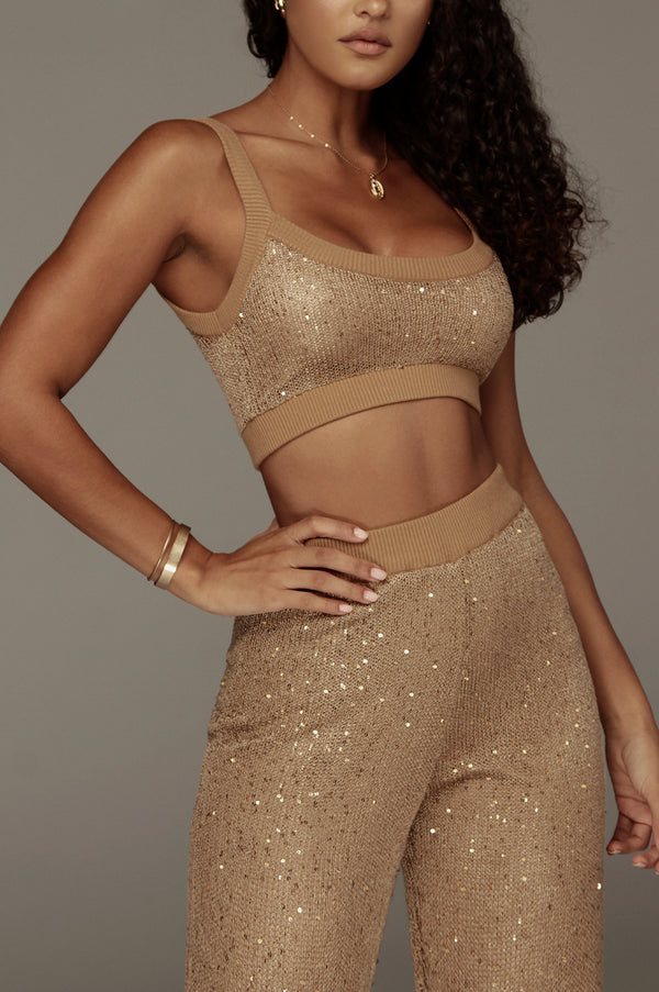 Caramel Kierstan Sequin Sweater Crop Top